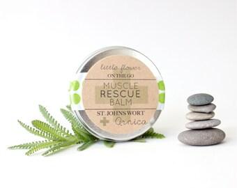 Healing Salve Muscle Rescue Balm 1 ounce tin all natural icy hot massage balm Arnica & St. Johns Wort salve travel tin bath and beauty body