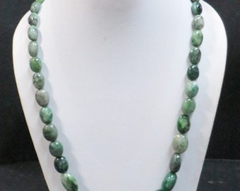 Natural Genuine Emerald Oval Stone Bead Long Semi precious stone Necklace Gemstone Jewelry indian handicraft Beryl Green beads jewellery