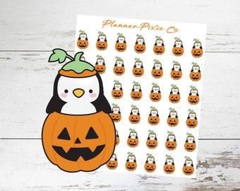 Penguin Planner Stickers // Pumpkin // Jack O Lantern