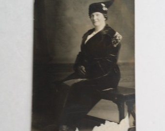 Antique Collectible Photograph Post Card Seated Lady Wearing Late Edwardian Hat