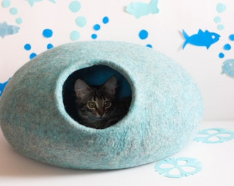 Cat house Turquoise blue felted cat cave pet bed puppy bed pet furniture handmade gift for pet lovers eco friendly natural wool animal bed