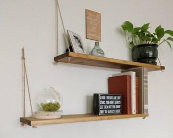 Apartment Decor, Hanging Shelf, Floating Shelf, Wood Shelf Set  Apartment  Shelves
