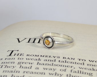 Citrine Orbit Ring (Size 6 US), Solitaire Ring, Faceted Disc Ring, Faceted Gem Stone, Faceted Gems, Orbital Ring, Orbit Ring
