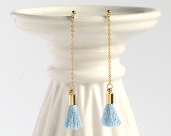 Small Blue Tassel Earrings, Baby Blue Tassel, Mini Tassel Earrings, Winter Earrings, Pastel Blue Dangle Drop Earrings, Threader Earrings,