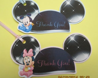 Personalized Baby Mickey & Minnie Favor/Gift Tgas (Set of 12)