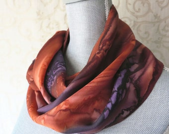 Silk Scarf Hand Dyed in Brown, Copper and Plum
