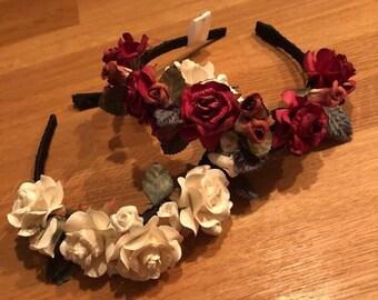 Handmade Vintage Style Rose Flower Crown Headdress On Headband. Ukrainian Vinok