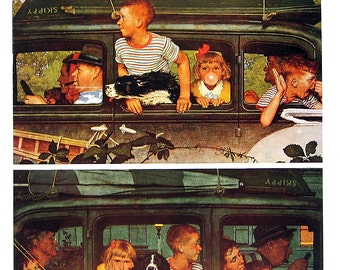 The Outing, Jack Benny - Norman Rockwell Art - Saturday Evening Post Cover - 2 Sided 1989 Vintage Book Page - 10 x 12