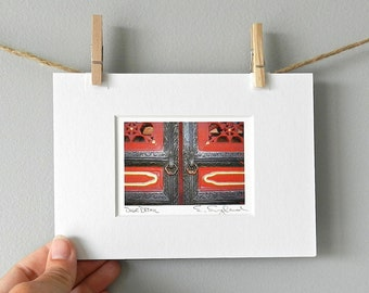 Forbidden City Door Print, Red Door Photography, Miniature Art, Asian Art,Asian Decor,Chinese Door Detail Photo,5x7 Matted Macro Photography