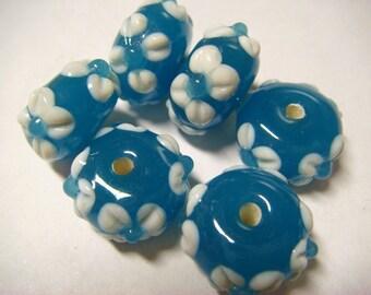 6 Turquoise floral applique rondelle lampwork beads
