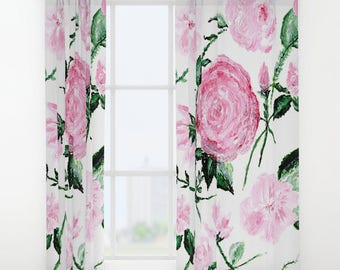 Floral Curtains, pink floral curtains, leaf window curtains, window curtains, flower curtains, white curtains, floral window curtains