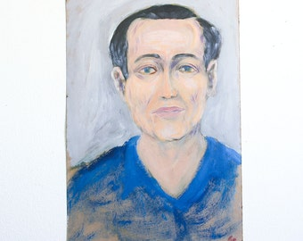 Vintage Portrait Painting of a Man / Outsider Art / 12 x 18 / Acrylic on Found Paper
