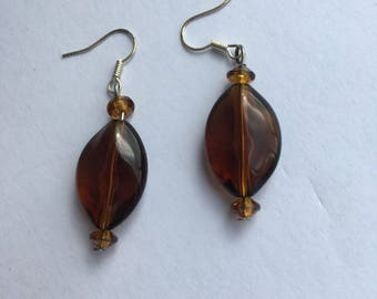 Amber colour bead drop earrings