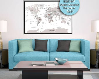 Detailed world map printable world map download neutral office detailed world map 32x48 brown printable world map city 60x40 72x48 gumiabroncs Image collections