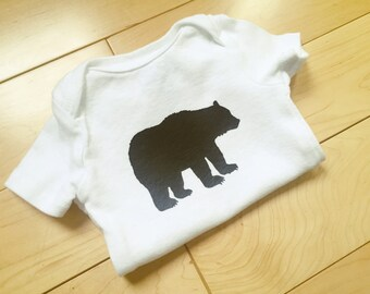 Grizzly Bear Bodysuit / Baby Boy Clothes / Wilderness / Woodland