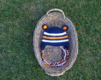 Chicago Bears Colored Bear hat! Navy blue, Orange, and White hat with ear flaps, braids, and cute bear ears!!