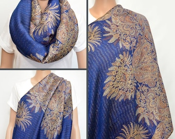 Royal Blue Nursing Cover Scarf - Infinity Scarf with floral Golden Beige pattern - Nursing Cover -Nursing  Scarf - Nursing Infinity Scarf
