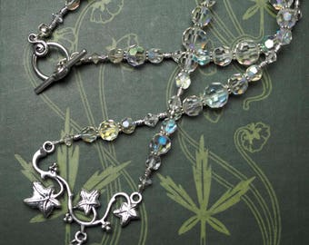 Magical Hare and Ivy Branch Necklace with Antique Crystal beads - Pagan, Magical, Goddess, Rabbit
