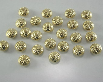 100 pcs. Vintage Flower GoldTone Dome Rivets Studs Buttons Decorations Findings 9 mm. DR FW G91 K