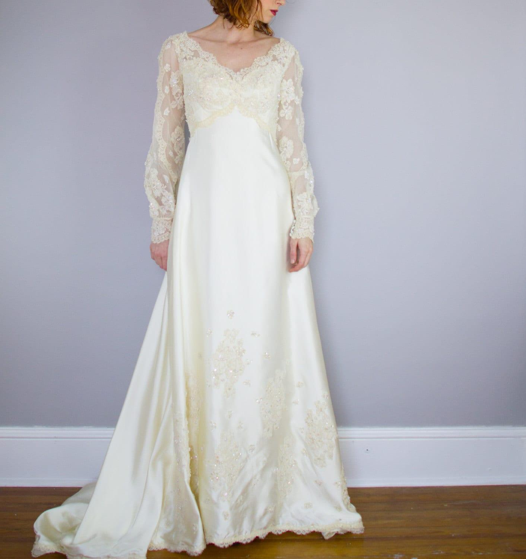 Priscilla of Boston wedding gown / 1970\'s / poet sleeves /