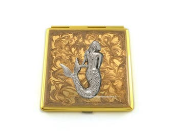 Antique Silver Mermaid Square Compact Mirror Inlaid in Hand Painted Enamel Nautical Victorian Inspired with Color and  Personalized Options