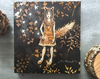 Nursery decor, Fox Girl, gifts for her, baby shower, woodland home, shellieartist, imagination stars, original artwork, mixed medium collage