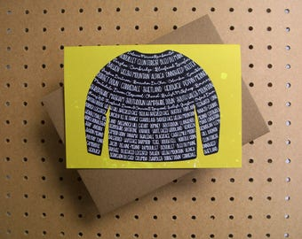 Yarn jumper sweater - greeting card - sheep breeds and types of yarn UK US
