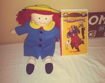 "vintage entertainment Vintage 1990 Madeline Doll and Vhs Madeline movie lot 15"" undressable Eden doll"