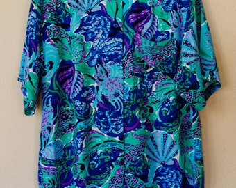Vintage 90s Brass Plum Nordstrom Floral Button Up Blouse - US Women's Size S/M