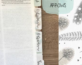 Books of the Bible Tabs, with adhesive, feathers & arrows print