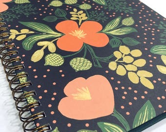 Ruled Journal - Flowers on Black