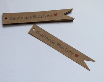 Handmade With Love Tags- Kraft Tags- Party Decor- Gift Wrapping