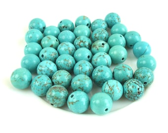 10 beads turquoise natural 10 mm round and smooth
