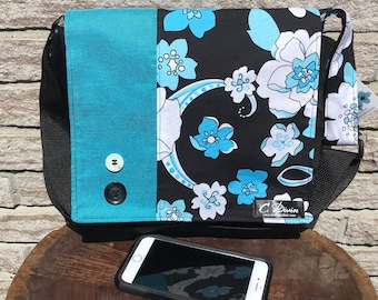 waterproof messenger bag aqua flowers pattern, unique bag, cabas bag, messenger bag, besace, tote bag, purse, eco-friendly, mandala bag