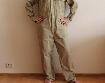 Men's Work Overall Vintage Work Overalls Beige Jumpsuit Workwear Overall Bib Overall  Romper Workers Coveralls Mechanic WorkWear Large Size