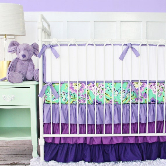 Purple Paige Floral Baby Bedding Girl Crib Set In Lavender