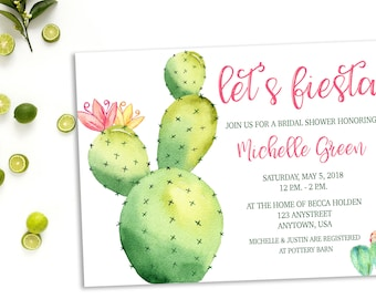 Fiesta Bridal Shower Invitation, Cactus, Fiesta, Bridal Shower, Limes, Southwest Themed Shower