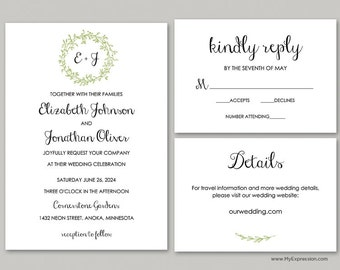 Green Layered Wreath Monogram Wedding Invitation Set (9914) - INSTANT DOWNLOAD - Ready to Print - Editable PDF