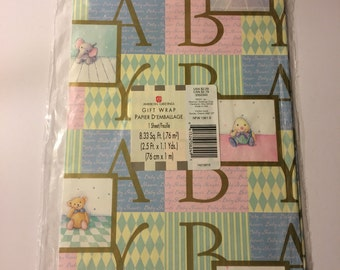 Vintage Baby, Baby Shower, Wrapping Paper, New in Sealed Package, Pink One Large Sheet Crafts, Scrapbooking, Art Supply