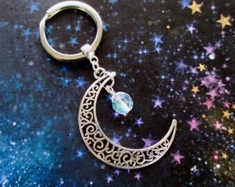 Crescent moon keyring - Crystal moon keychain - Crystal moon - Celestial gift - Filigree moon keyring - Pagan - Wiccan - Crystal keyring