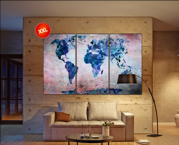 wall art maps wall art print on canvas wall art Large wall art maps art artwork wall art maps World Map Print home office decoration
