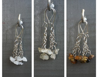 Crystal Earrings With Moonstone - Tigers Eye - Lapis Lazuli - Citrine - Dangle Chain