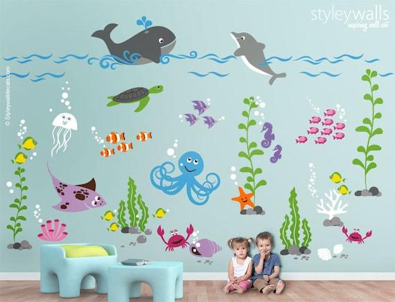 Underwater Wall Decal Ocean Wall Decal Aquarium Wall Decal - Underwater wall decals
