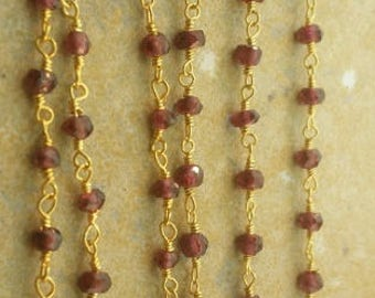 3mm beaded garnet chain