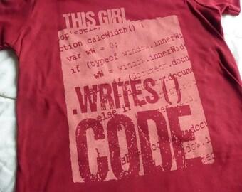 "WOMEN'S PROGRAMMING UNISEX ""Writes Code"" Short Sleeve Screen Printed Cranberry Cotton Tee Teacher Graduation Gift"