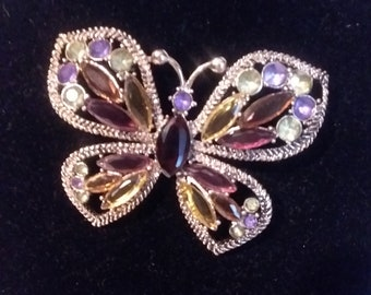 Signed MONET Vintage Butterfly Brooch/Pin Multi color rhinestone and gold tone