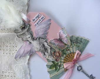 Marie Antoinette Birthday Gift,  Angel Art Tag, Assemblage Paper Tag, Mixed Media Hang Tag, Butterfly Tag, Victorian Art Tag