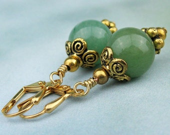 Dangle Earrings, Jade Beads, Semi Precious Stones, Gold Beads, Rondelles, Jade Green, Victorian Style, Handmade Earrings, Elegant Gift