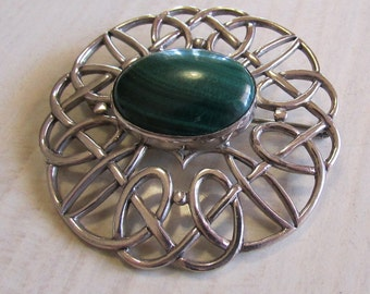 Sterling Silver Celtic Knot Pin with Malachite (J)