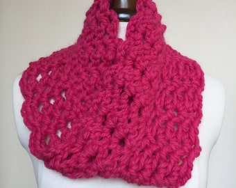 Chunky Crocheted Bright Pink Cowl